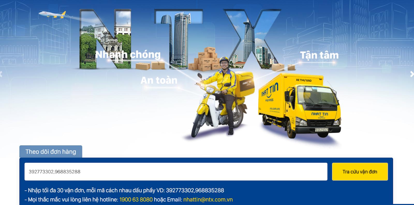 nhập mã vận đơn để tra cứu chuyển phát nhanh vận đơn NTX - Nhất Tín Express