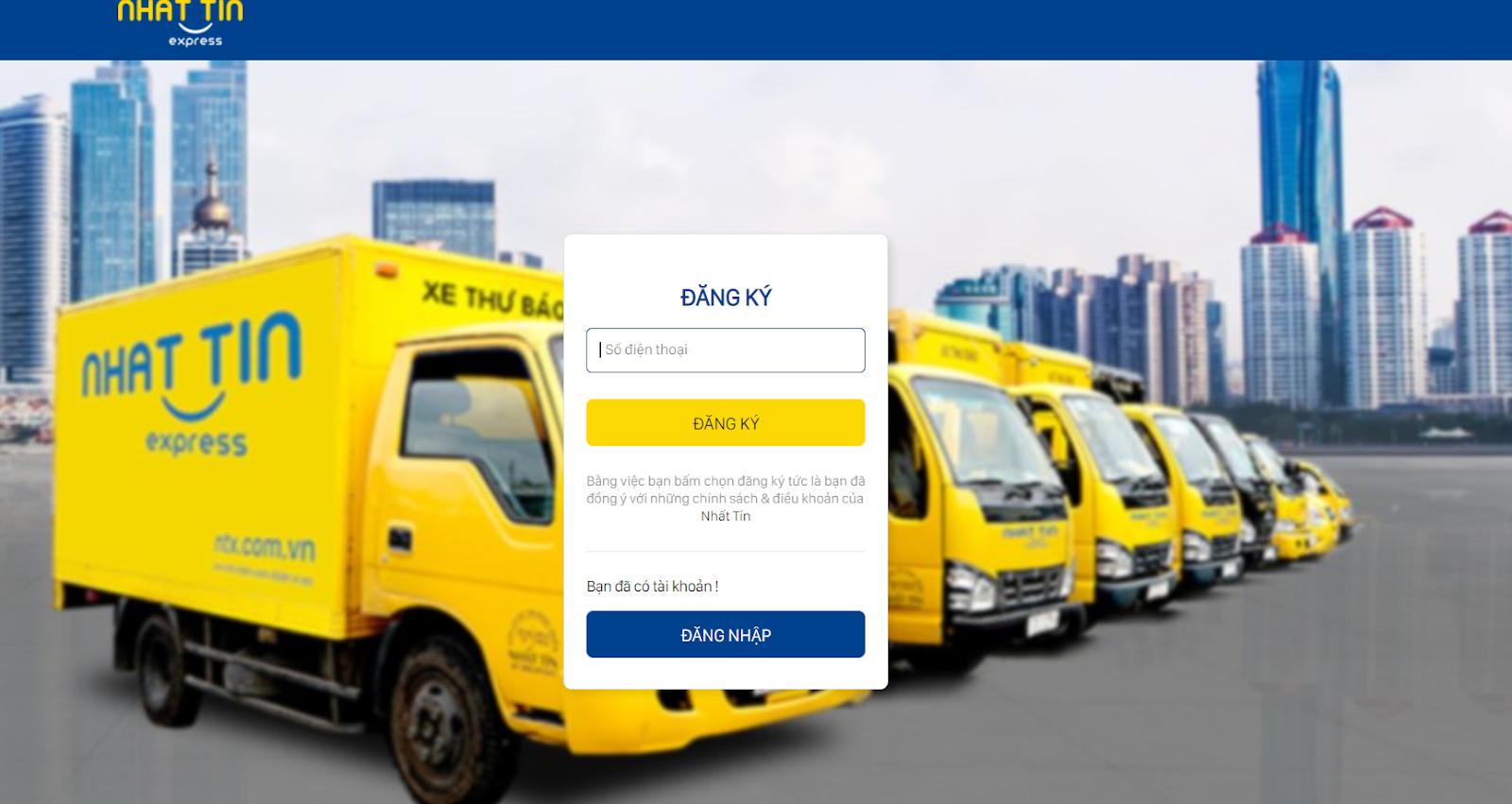 Đăng ký tài khoản giao hàng express trên trang NTX - Nhất Tín Express