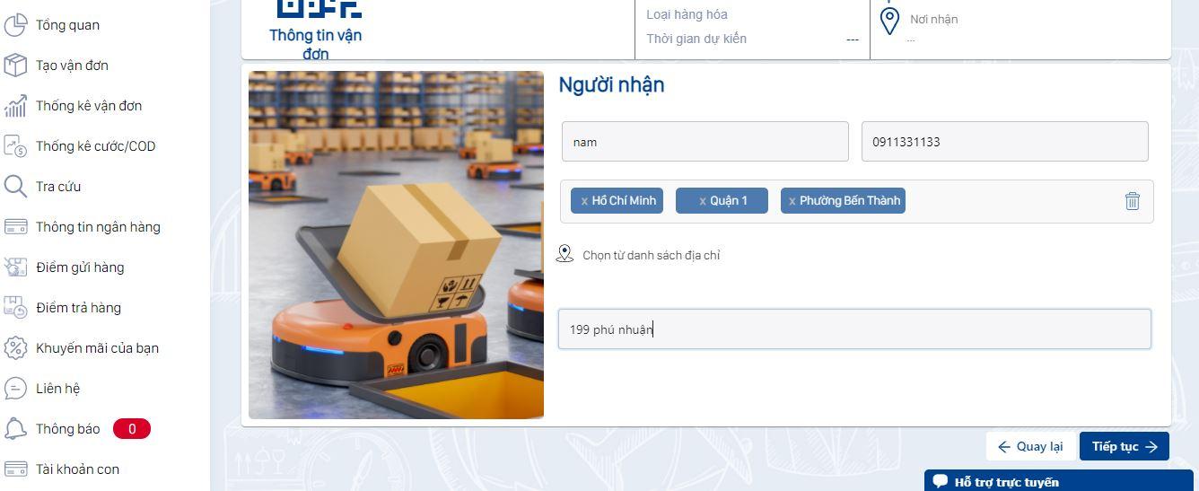 Vận chuyển hàng đi Hà Nội cần nhập đầy đủ thông tin người nhận