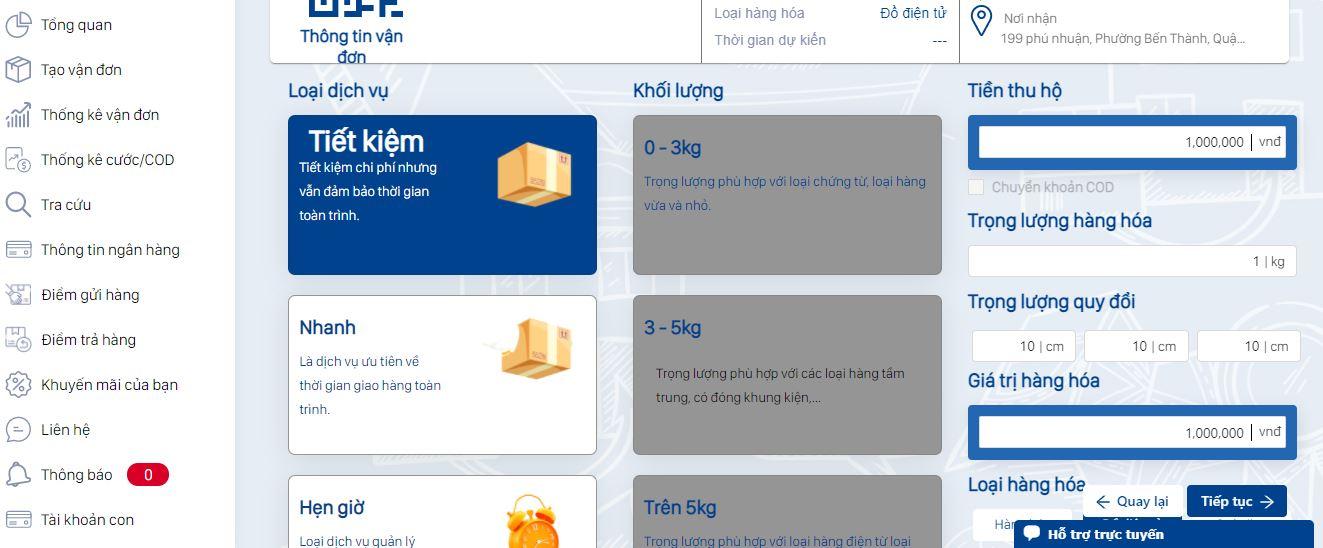 hướng dẫn giao hàng tiết kiệm chọn hình thức vận chuyển theo nhu cầu