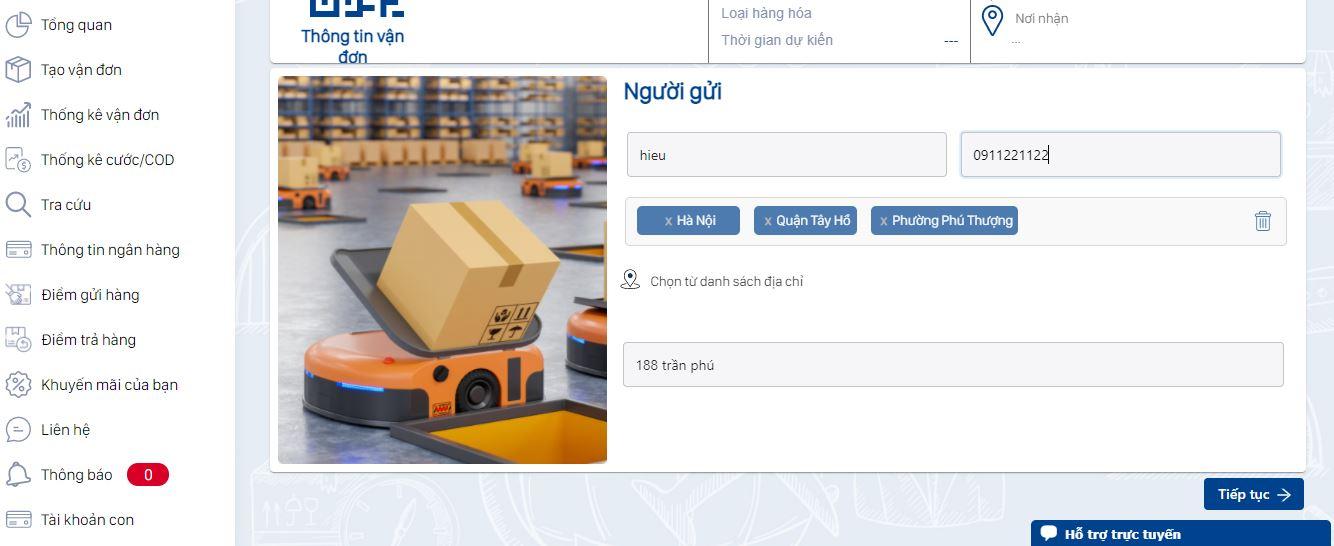 Vận chuyển hàng đi Hà Nội cần nhập đầy đủ thông tin người gửi