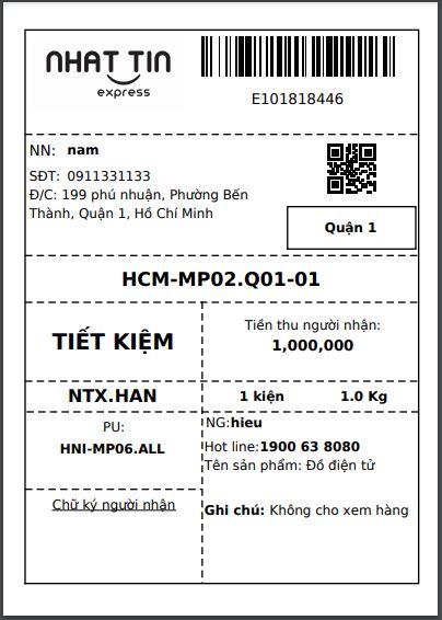 In mã vận đơn vận chuyển hàng đi Hà Nội