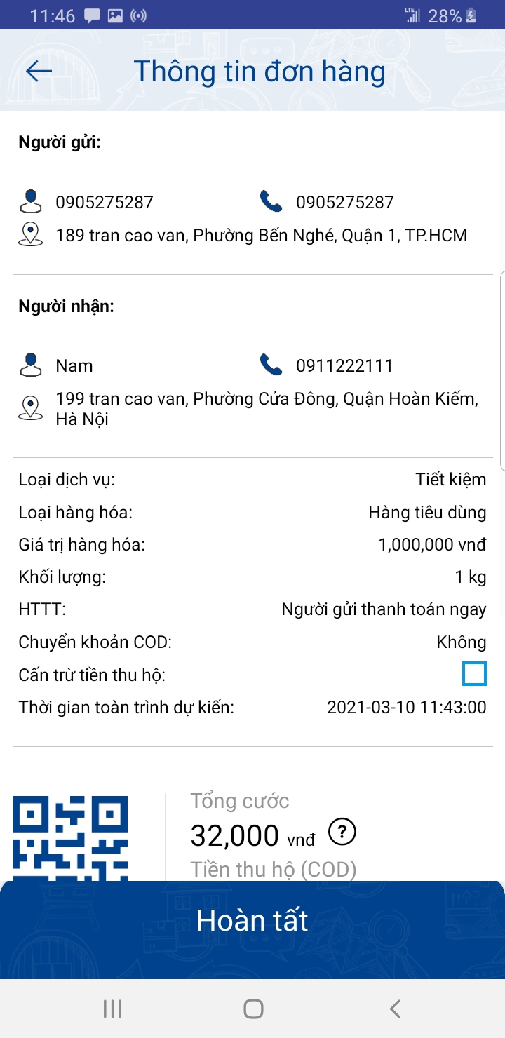 kiểm tra thông tin đơn hàng trên ứng dụng ship hàng