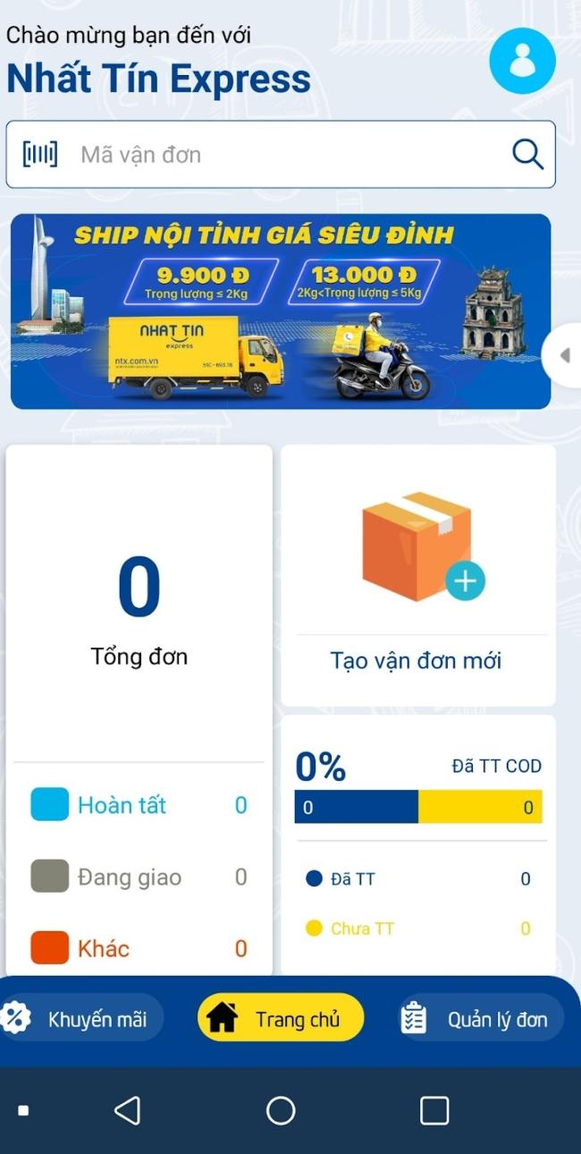 app ship hàng tại NTX - Nhất Tín Express